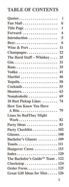 Bachelors Guide to Libations table of contents